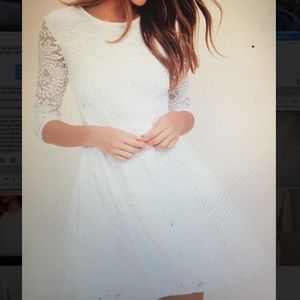 White lace quarter length sleeve dress from Lulu's